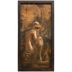 Kasango Kamba, African Art, Brass Relief of Hunter