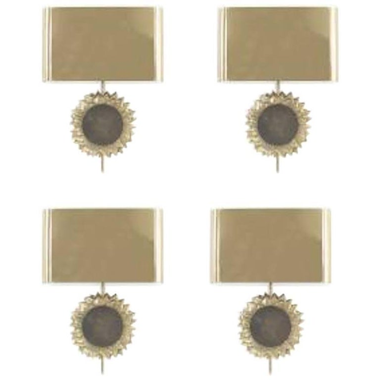 """Pair of French Midcentury Gilt and Silvered Bronze """"Sunflower"""" Wall Sconces"""