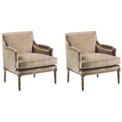 Pair of French Mid-Century Modern Neoclassical Style Lounge Chairs Maison Jansen