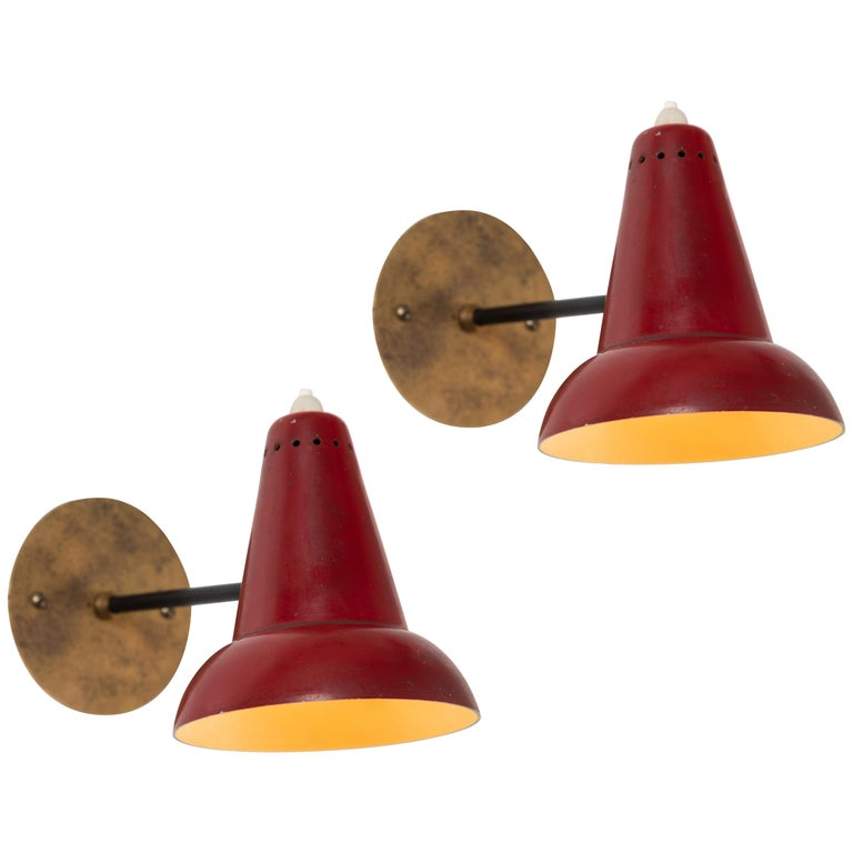 1950s Italian Red Articulating Sconces Attributed to Gino Sarfatti