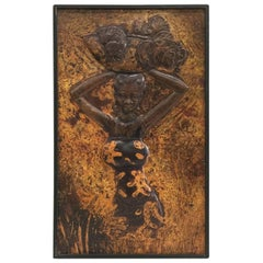 Kongolo 1979, African Art, Relief in Brass, 1979