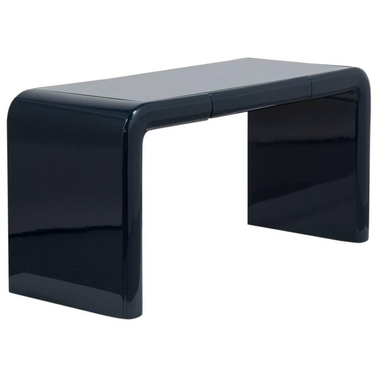 Basalt Lacquered Waterfall Desk or Vanity Table, 1980s