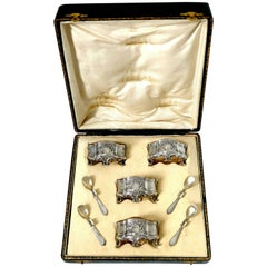 Barrier French Sterling Silver 18-Karat Gold Four Salt Cellars, Spoons, Box