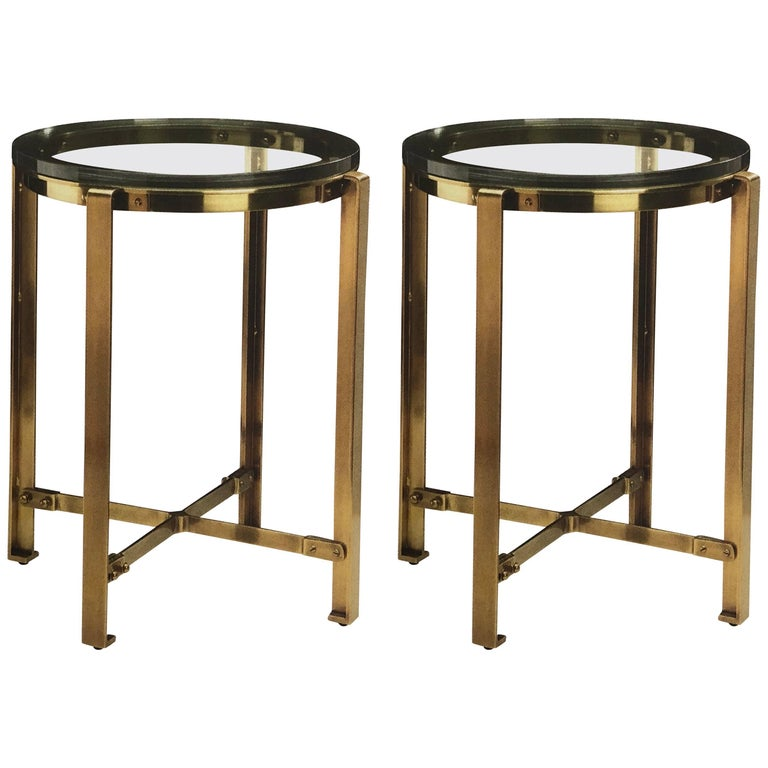 Pair of French Mid-Century Modern Style Round Brass Side Tables, Jacques Quinet