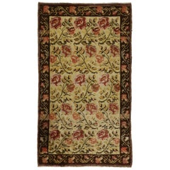 Vintage Oushak Rug with Traditional English Country Garden Design