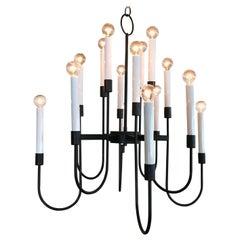 Modernist 16 Bulb Candelabra Chandelier by Lightolier in Black Enamel, 1960s