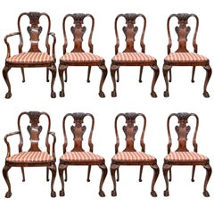 Set of Eight Antique English 19th Century Well-Carved Burl Walnut Dining Chairs