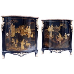 Pair of Louis XV Style Lacquered Corner Cupboards, circa 1900