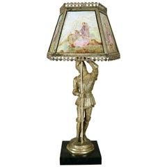 Antique English Figural Painted Lithophane Table Lamp, circa 1900