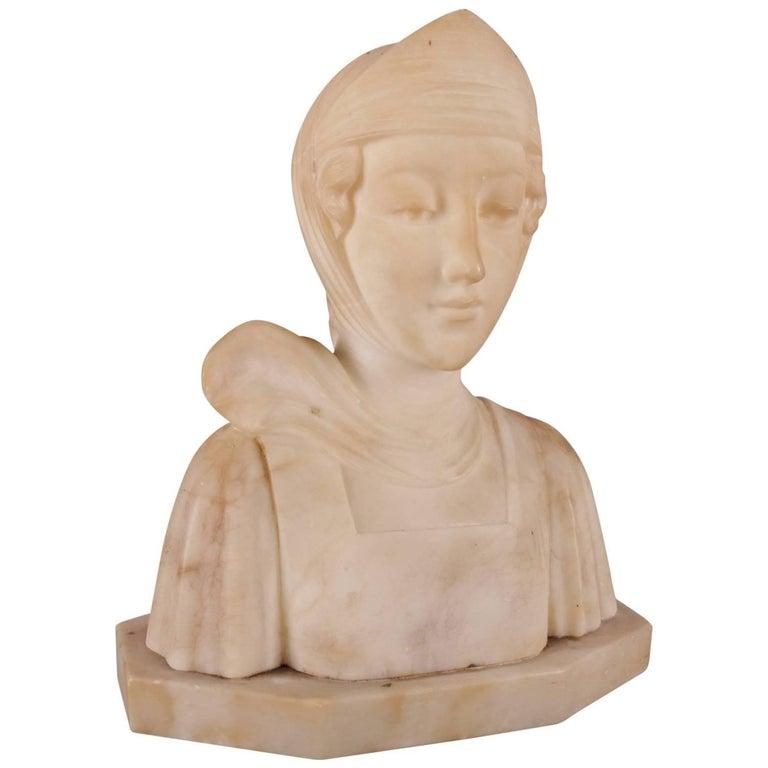 Antique Italian Carved Alabaster Portrait Bust Sculpture Dante's Beatrice For Sale