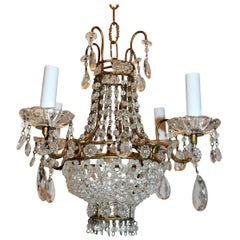Wonderful French Beaded Basket Petite Chandelier Four-Light Gold Gilt Fixture