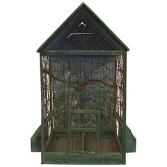 Rustic English Country Victorian Green Painted and Wire Birdcage