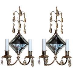 Wonderful Diamond Crystal Mirror Silvered Bronze Two-Arm Caldwell Sconces, Pair