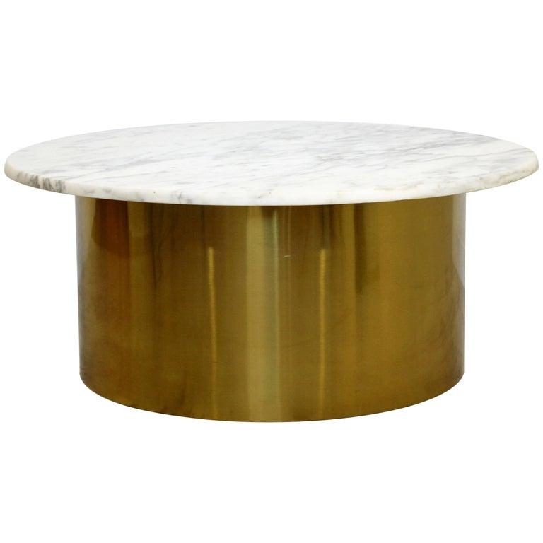 Mid-Century Modern Silas Seandel Attributed Carrera Marble & Brass Coffee Table
