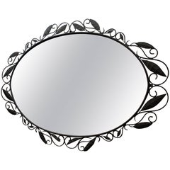 Large Oval Oversized Designer Wrought Iron Wall/Foyer Mirror