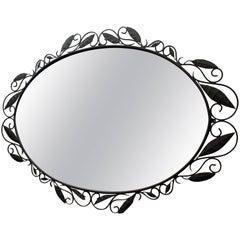 Large Oval Oversized Designer Wrought Iron Wall/Foyer Mirror
