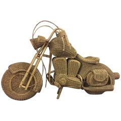 Midcentury Wicker and Bamboo Full-Size Replica of a Harley Davidson Motorcycle