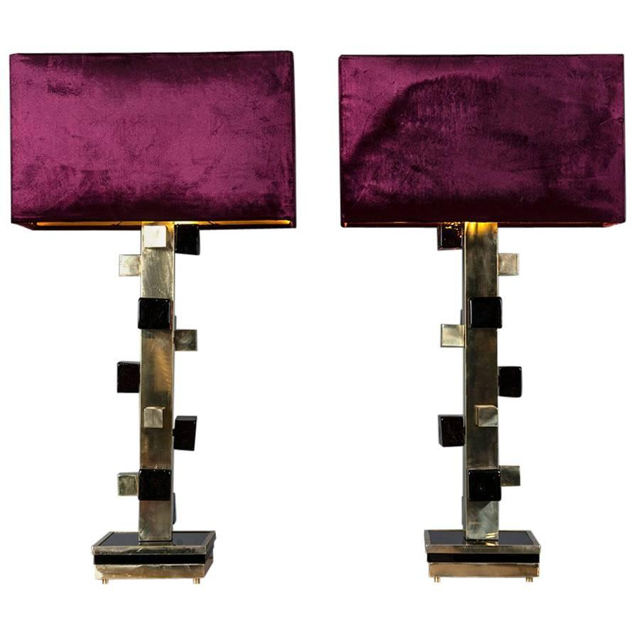 Pair of Brass Lamps with Amethyst Cubes of Murano Glass Velvet Lampshades, 1980s