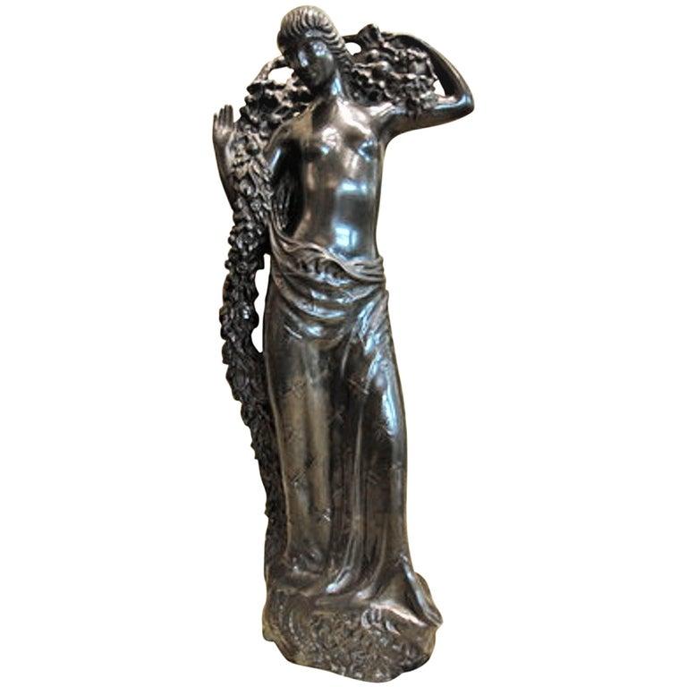 Gustave Gillot, Goddess Pomona, French Art Deco Bronze Sculpture, circa 1920s