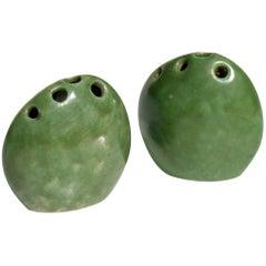 Renato Bassoli by Il Sestante Italian Midcentury Green Pottery Sculptures