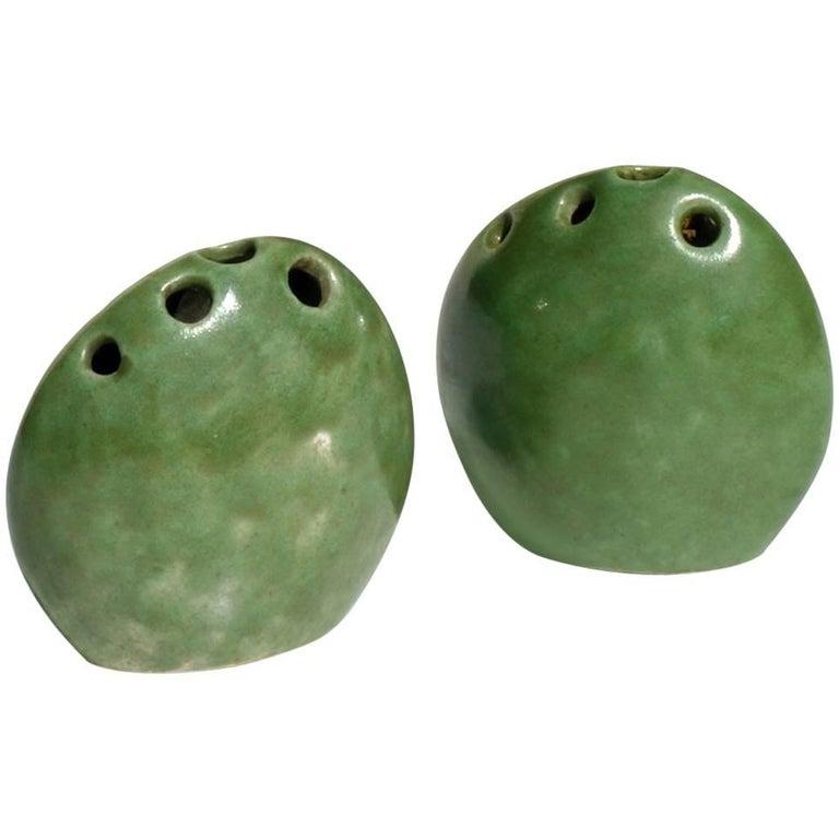 Renato Bassoli by Il Sestante Italian Midcentury Green Pottery Sculptures For Sale