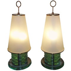 Pair of Glass Table Lamps by Fontana Arte, 1960