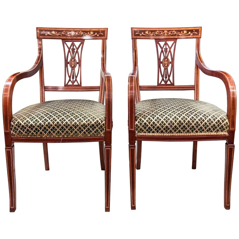 Pair of Antique English Mahogany Armchairs, circa 1880 For Sale