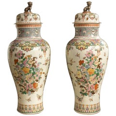 "Samson Porcelain Vases and Covers, ""Famille Rose"" Decoration, Exceptional Size"