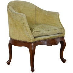 Italian Carved Walnut and Upholstered Bergère from the 19th Century