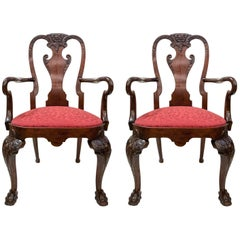 Pair of Antique English Carved Mahogany Armchairs, circa 1865-1875