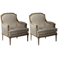 Pair of Italian White and Gold Leaf Louis XVI Style Lounge Chairs, Maison Jansen