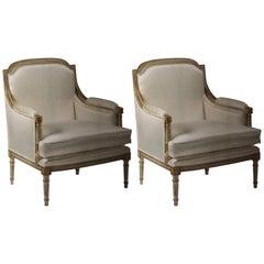 Pair of Italian Modern Neoclassical Louis XVI Style Lounge Chairs, Maison Jansen