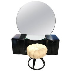 Glamorous Art Deco Black Lacquer Vanity with Stool by Haywood-Wakefield