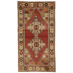 Vintage Turkish Oushak Rug in Traditional Double Medallion Style