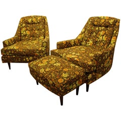 Mid-Century Modern Three-Piece Floral Lounge Chair and Ottoman Set