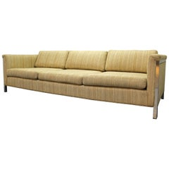 Mid-Century Modern Milo Baughman Style Chrome Frame Sofa