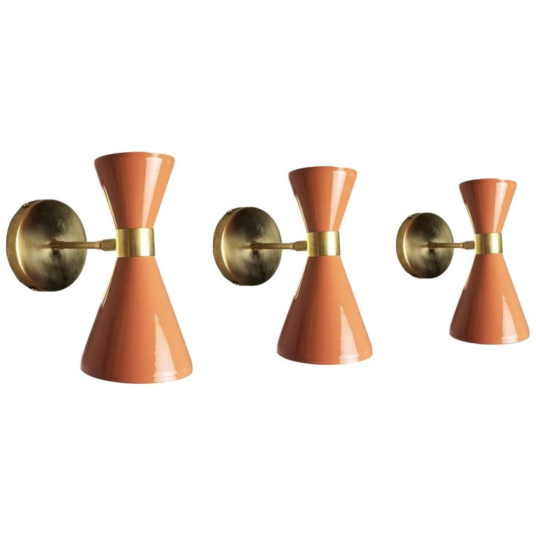 "Italian Modern Brass & Blush Enamel ""Campana"" Wall Sconce by Blueprint Lighting"