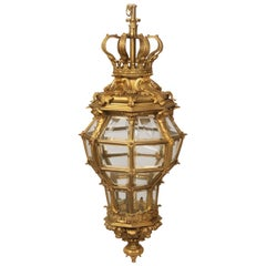 Fantastic Late 19th Century Gilt Bronze and Glass 'Versailles' Hall Lantern