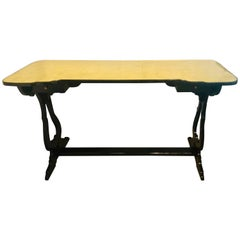 Hollywood Regency Ebony and Églomisé Glass Top Knee Hole Console or Desk