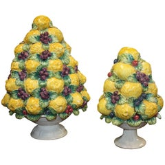 Two Matching Midcentury Italian Fruit Topiary
