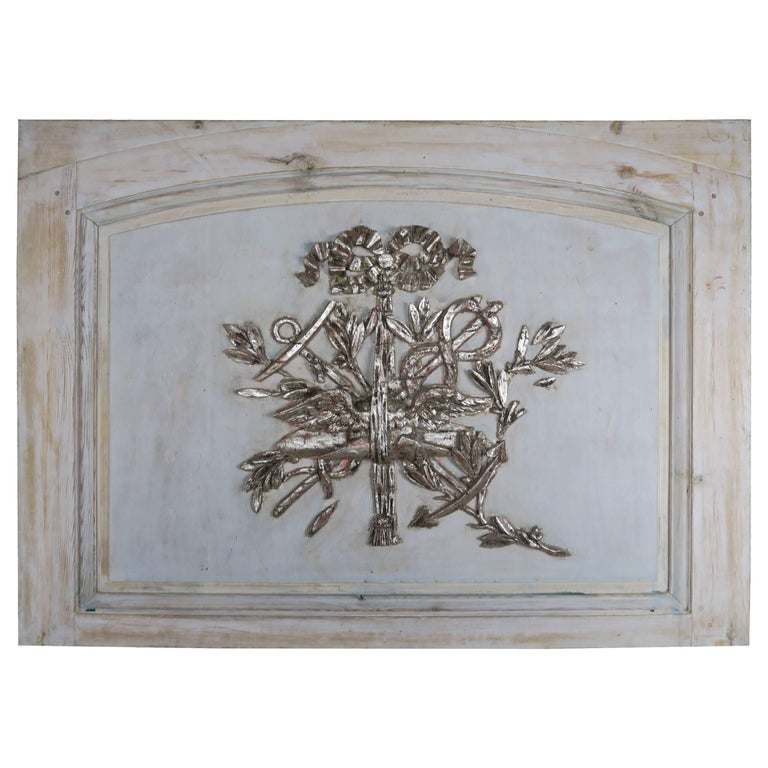 19th Century French Painted and Silver Gilt Panel