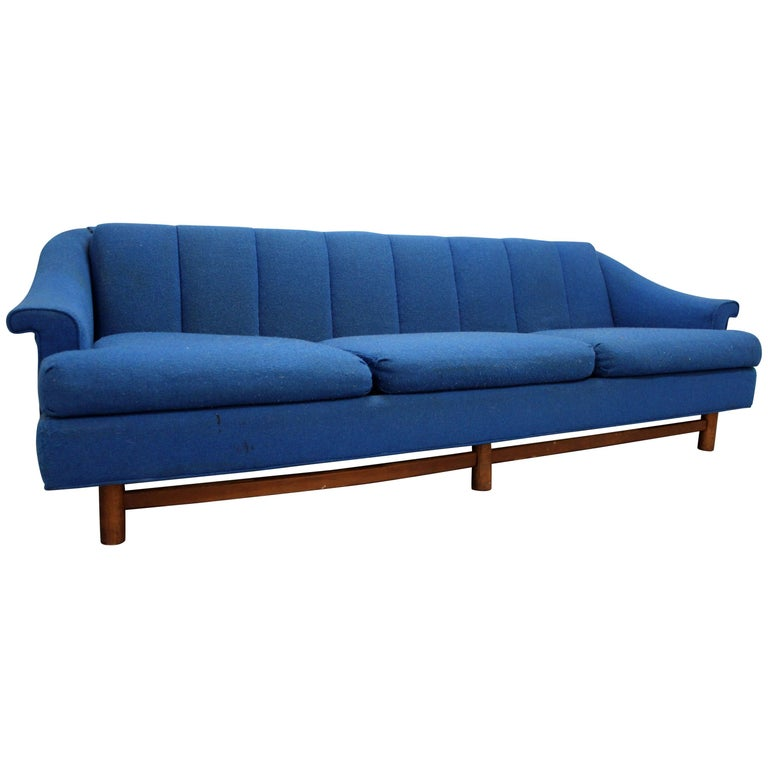Mid-Century Modern Three-Cushion Blue Sofa For Sale at 1stdibs