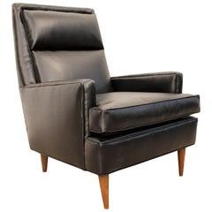 Midcentury Danish Modern Selig Leather Pencil-Leg Lounge Chair