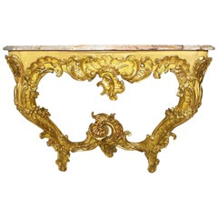 Fine French 19th Century Louis XV Style Rococo Giltwood Carved Console Table