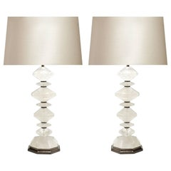 Pair of Diamond Form Rock Crystal Table Lamps