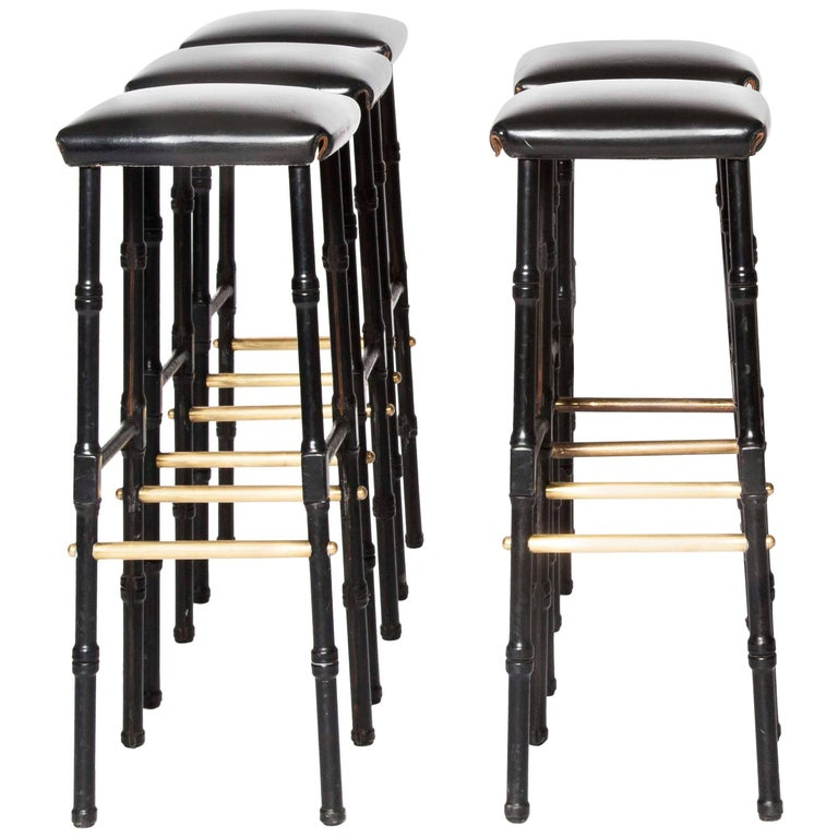Jacques Adnet, Set of Five Bar Stools