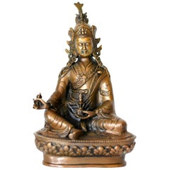 Bronze Tibetan Statue of Teacher, God of Wisdom