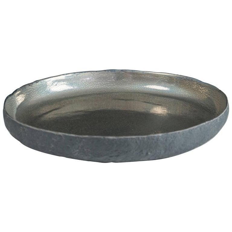 Round Platinum Ceramic Centerpiece with Platinum by Cristina Salusti