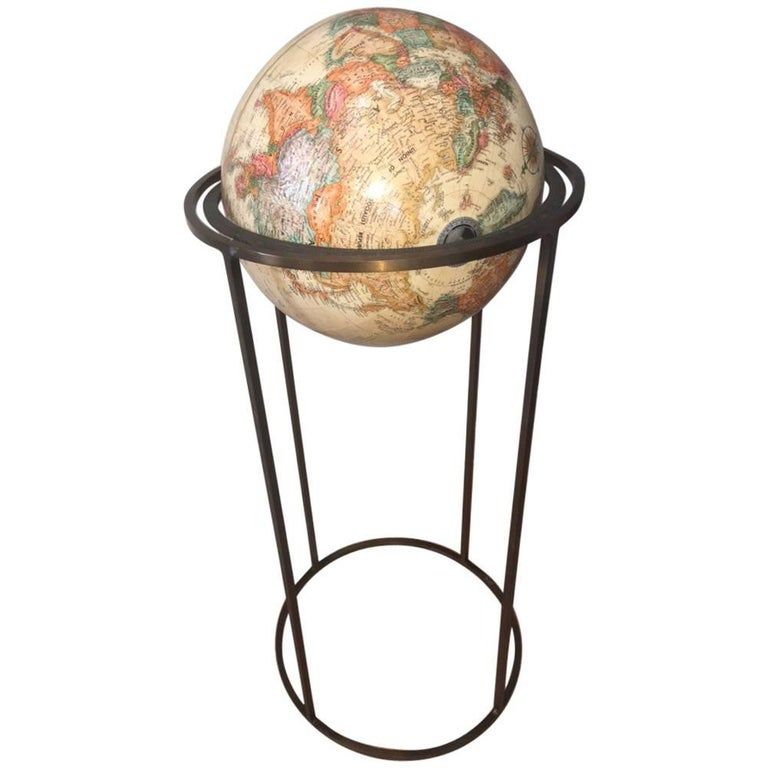 modern revolving globe in brass stand for sale at 1stdibs