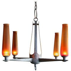 Hand-Hammered Aluminium and Venini Glass Chandelier, circa 1963